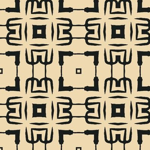 Black and Tan Lattice Abstract