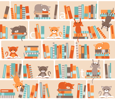 Library cats fabric by heleenvanbuul on Spoonflower - custom fabric