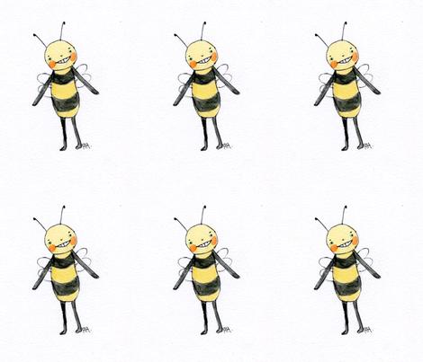Bee Happy Bee fabric by dollzandthingz on Spoonflower - custom fabric