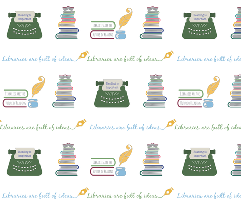 Libraries can be fun-White fabric by pamela_hamilton on Spoonflower - custom fabric