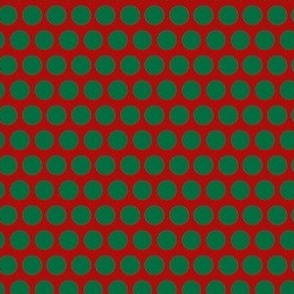 Green Polka Dots on Red