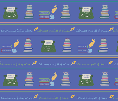 Libraries can be fun-Blue Stripe fabric by pamela_hamilton on Spoonflower - custom fabric