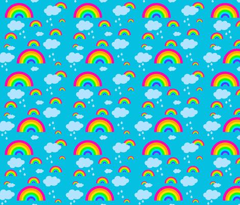 rainbow_fabric_design_turquoise_back_pink_rainbows fabric by rainingrainbows on Spoonflower - custom fabric