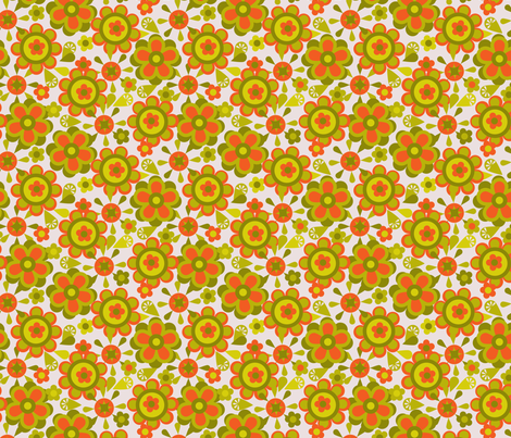 Canister floral orange fabric by cjldesigns on Spoonflower - custom fabric