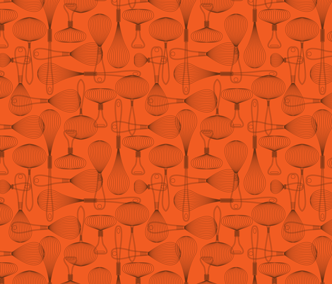 whisk it repeat orange fabric by cjldesigns on Spoonflower - custom fabric