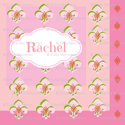Squared Up Fleur De Lis - Personalized in Pink-ed