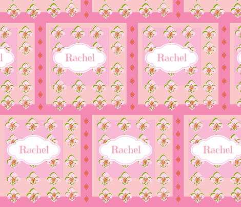 Squared Up Fleur De Lis - Personalized in Pink-ed fabric by drapestudio on Spoonflower - custom fabric
