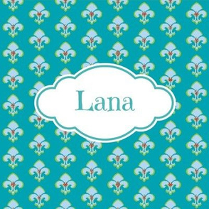 Fleur de Lis Aqua - Personalized