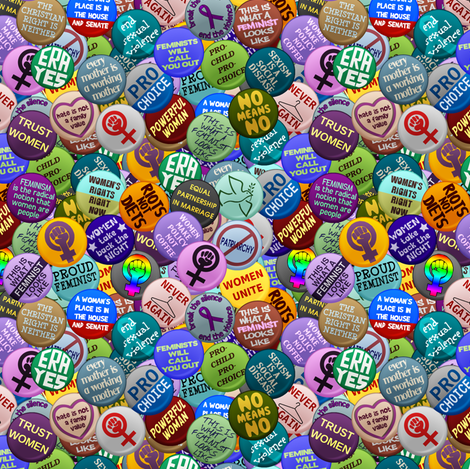 Feminist  Buttons - small fabric by spacefem on Spoonflower - custom fabric