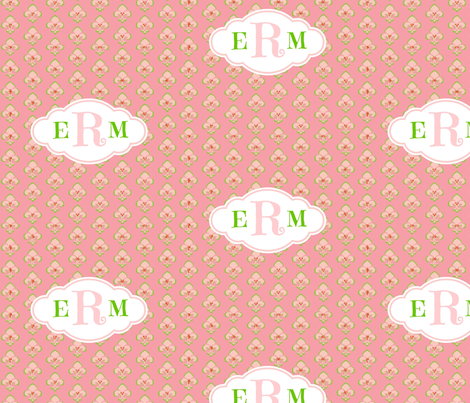 Fleur de Lis Sorbet - Initials apple sorbet fabric by drapestudio on Spoonflower - custom fabric