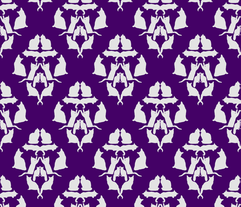 Damask Cat Silhouette Purple and grey fabric by modernfox on Spoonflower - custom fabric