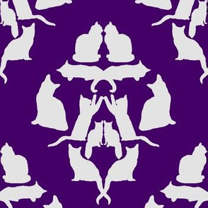 Damask Cat Silhouette Purple and grey