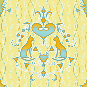Cat Damask - yellow