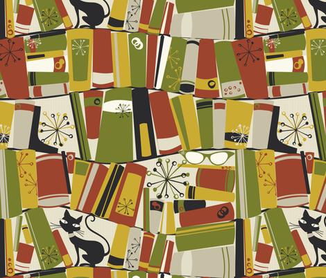 upon the bookshelf fabric by bippidiiboppidii on Spoonflower - custom fabric