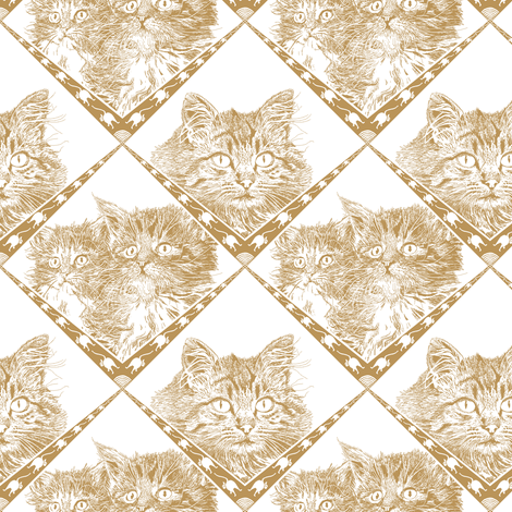 Mama_and_Kittens - Beige/Gold - Ba9549  fabric by house_of_heasman on Spoonflower - custom fabric