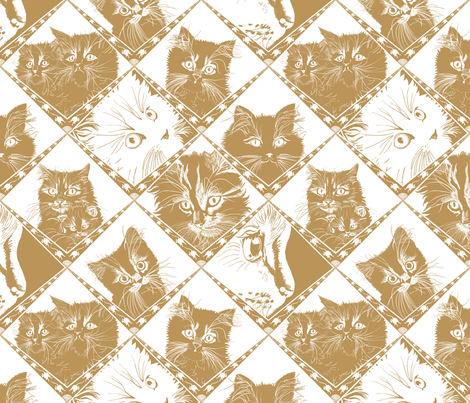 Damask_Cats_Beige/Gold - Ba9459 fabric by house_of_heasman on Spoonflower - custom fabric