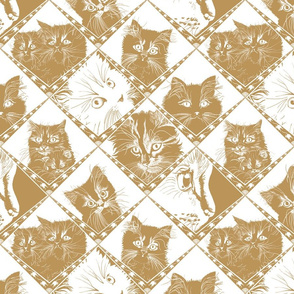 Damask_Cats_Beige/Gold - Ba9459