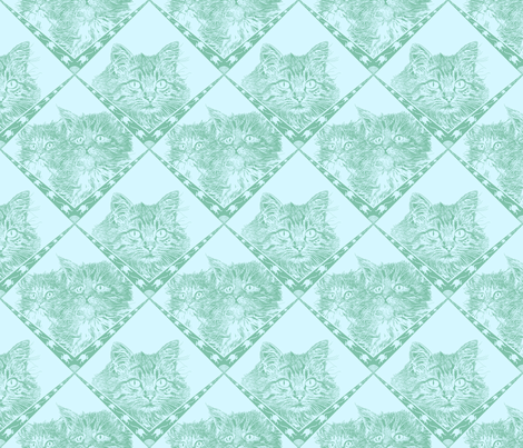 Mama_and_Kittens__7ec1a9_Dark_Aqua_and__d5f7ff_background_ fabric by house_of_heasman on Spoonflower - custom fabric