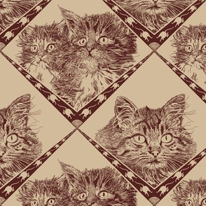 Mama_and_Kittens_55221f_Dark_Chocolate_and__d2bb9a_background_