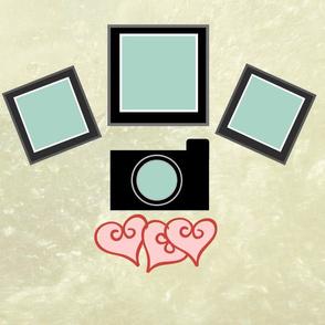 Polaroid hearts - blue