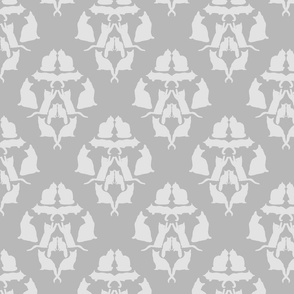 Damask Cat Silhouette Grey on grey