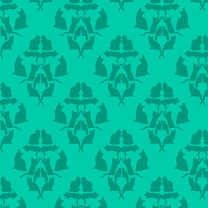 Damask Cat Silhouette Teal