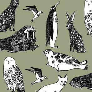 arctic animals // antarctic tundra winter animals nursery baby fabric polar bear design