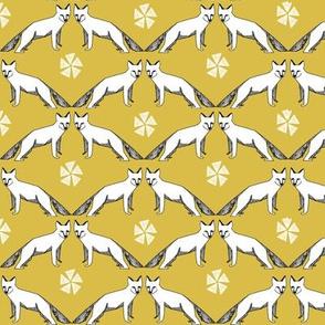 arctic fox // mustard yellow fox fabric cute fox design arctic winter fox tundra