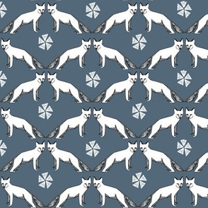 arctic fox // grey blue fox fabric cute arctic animals fox fabric