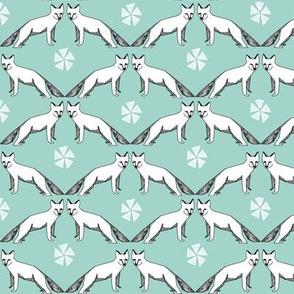 arctic fox // mint aqua fox fabric nursery baby cute arctic fox design