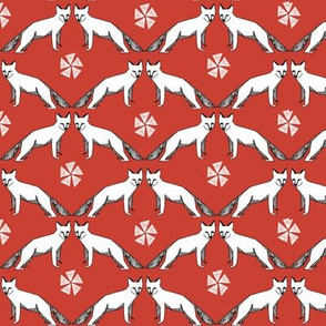 arctic fox // red andrea lauren fabric cute winter animals nursery baby fabric
