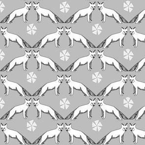 arctic fox // grey winter nursery fabric cute fox design andrea lauren fabric