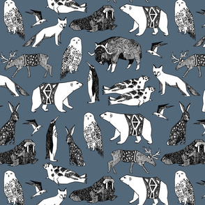 winter animals // bear fabric arctic animals snowy owl fox bears fabric winter animals