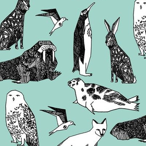 winter animals // snowy owl fox polar bear walrus winter baby animals nursery print