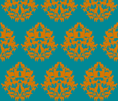 cat_damask-teal fabric by amyjeanne_wpg on Spoonflower - custom fabric