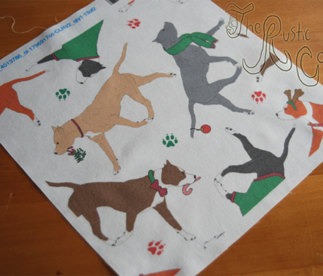 Trotting American Staffordshire Terriers - white Christmas