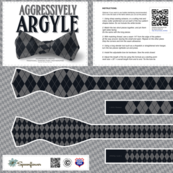 DIY Bow Tie - Argyle - Black & Grey
