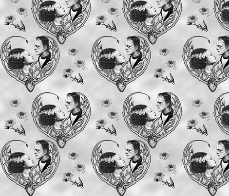 We Were Made For Each Other, grayscale fabric by jenithea on Spoonflower - custom fabric