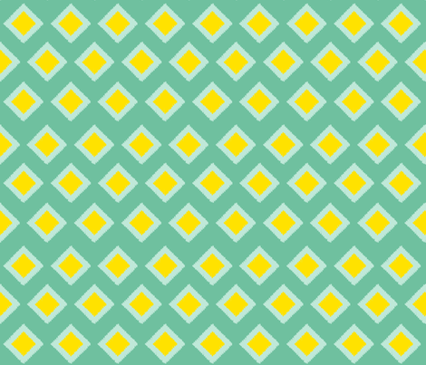 mint and yellow ikat fabric by olafdesigns on Spoonflower - custom fabric