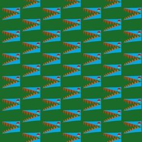 Blue Aligator on Green