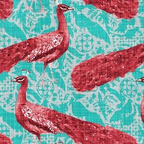 The Rajah's Ruby Peacock (in Aquamarine)