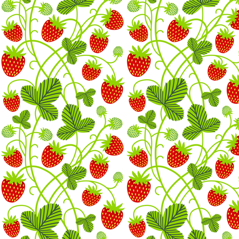 strawberries - white fabric by mirabelleprint on Spoonflower - custom fabric