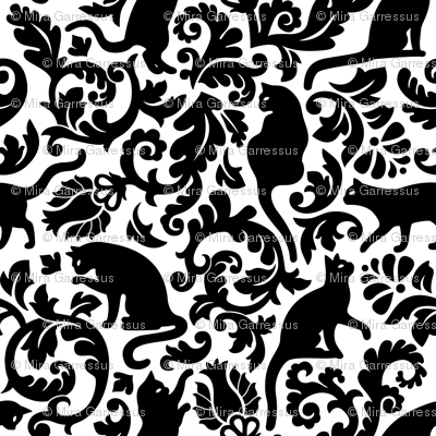 cats in the garden - black and white, large