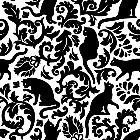 cats in the garden - black and white, large fabric by mirabelleprint on Spoonflower - custom fabric