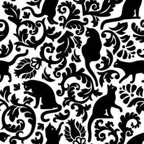 Cats In The Garden / Black On White Background / Large Scale