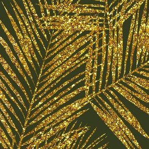 gold glitter palm leaves - dark olive, extra large. silhuettes faux gold imitation tropical forest olive background hot summer palm plant leaves shimmering metal effect texture fabric wallpaper giftwrap