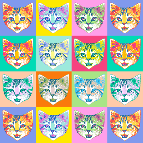 cat pop fabric by mirabelleprint on Spoonflower - custom fabric