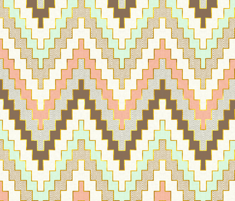 Luxe Chevron in Mint, Coral and Gold Dust fabric by willowlanetextiles on Spoonflower - custom fabric
