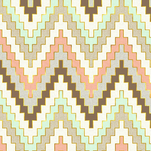 Luxe Chevron in Mint, Coral and Gold Dust