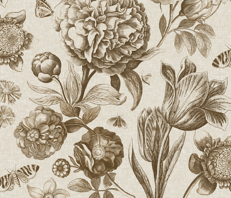 Windsor Botanical in Oyster fabric by willowlanetextiles on Spoonflower - custom fabric